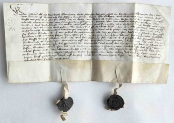 Bacharach Weinberg Mittelalter Urkunde Pergament Siegel Fruehneuhochdeutsch