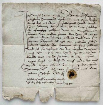 Ursula von Melem Sage von der Madonna am steinernen Haus Frankfurt am Main Urkunde Quittung Autograph Mittelalter