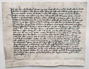 Enns Urkunde Pergament Mittelalter frühneuhochdeutsch
