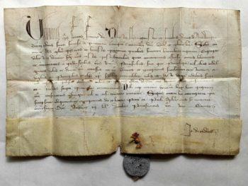 Urban V. Papst Avignon Schisma Pergament Handschrift Franziskaner Tertiaren Antwerpen Bleisiegel Bulle Pergamenturkunde