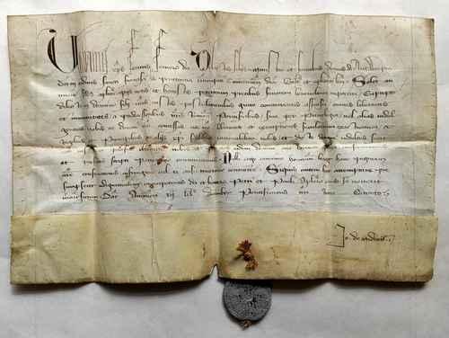 Papst Urban V. Avignon Schisma Pergament Handschrift Franziskaner Tertiaren Antwerpen Bleisiegel Bulle Urkunde