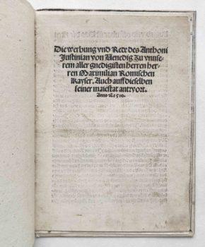 Giustinian Antonio Kaiser Maximilian Venezianerkriege 1510 Titel
