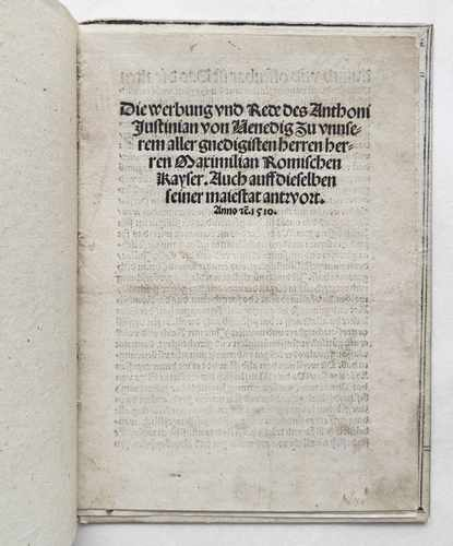 Giustinian Antonio Kaiser Maximilian I. Venezianerkriege 1510 PostinkunabelT itel Vorschau