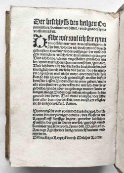 Geistliches Leben Klosterleben Mittelalter Laurentius Justinianus Bonaventura Postinkunabel Kolophon 1510