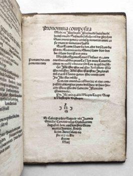 Johannes Aventinus Turmair Grammatik Schulbuch Postinkunabel 1512 Druckvermerk
