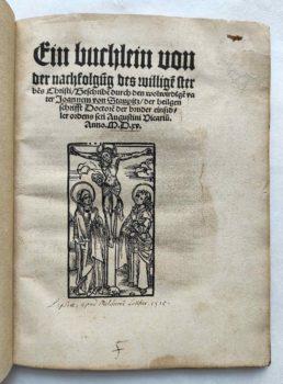 Johann von Staupitz Martin Luther Postinkunabel Mystik Leipzig Titel