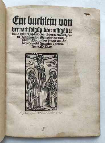 Johann von Staupitz Martin Luther Postinkunabel Mystik Leipzig Vorschau