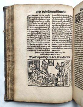 Lorenz Fries Spiegel der Arznei Medizin Anatomie Heilkunde Mittelalter Holtschnitt Krankenlager