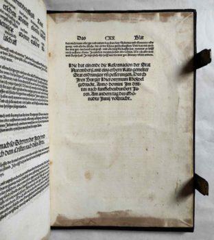 Nürnberg Stadtrecht Reformation Mittelalter Inkunabel Postinkunabel Rechtsbuch Jura Druckvermerk Kolophon
