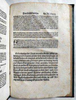 Worms Stadtrecht Mittelalter Inkunabel Postinkunabel Rechtsbuch Jura Römisches Recht Strafrecht Kriminalrecht Druckvermerk Kolophon