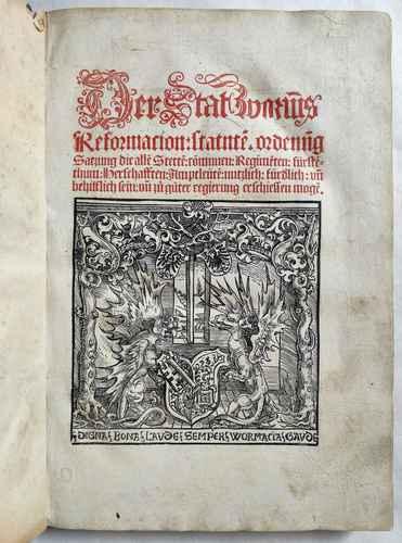 Worms Stadtrecht Mittelalter Inkunabel Postinkunabel Rechtsbuch Jura Römisches Recht Strafrecht Kriminalrecht Titel