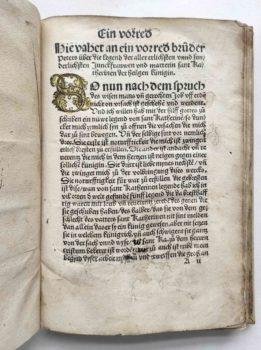 Frater Petrus legenda sanctae catharinae deutsch Holzschnitt Inkunabel Vorrede