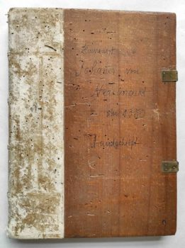 Johann von Neumarkt Kanzler Kaiser Karl IV. Böhmen Prag Pergament Handschrift Leben des Hieronymus Einband
